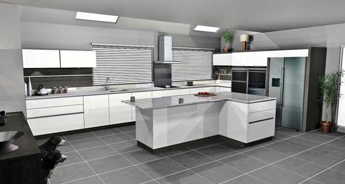 U Shaped Kitchen Design With Island White Handleless Lacquer With Terra Oak Panelling In