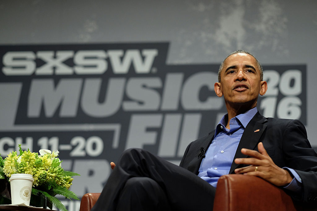 AUSTIN, TX - MARCH 11:  President Barack Obama speaks at the opening Keynote during the 2016 SXSW Music, Film + Interactive Festival at Long Center on March 11, 2016 in Austin, Texas.