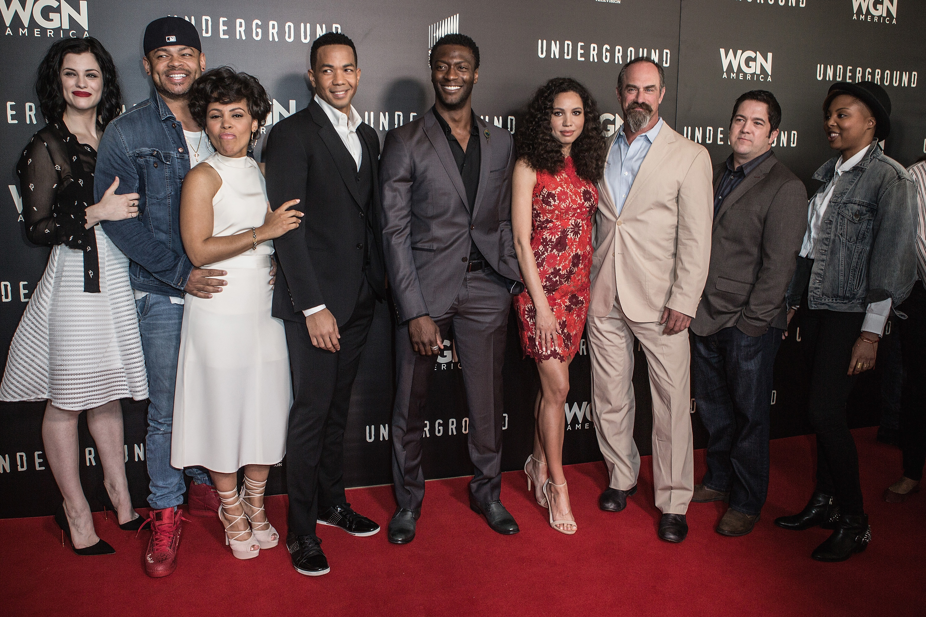"BEVERLY HILLS, CA - APRIL 17:  Jessica De Gouw, Anthony Hemmingway, Amirah Vann, Alano Miller, Aldis Hodge, Jurnee Smollett-Bell and Christopher Meloni attend the WGN America Presents ""Underground"" For Your Consideration EMMY Event Exclusive Screening And Panel Discussion at The Beverly Hilton Hotel on April 17, 2016 in Beverly Hills, California."