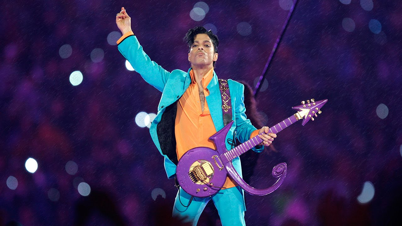 Screenshot from Youtube of Prince performing at the Superbowl