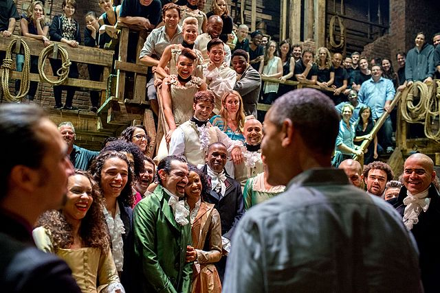 Hamilton cast are greeted by President Barack Obama.