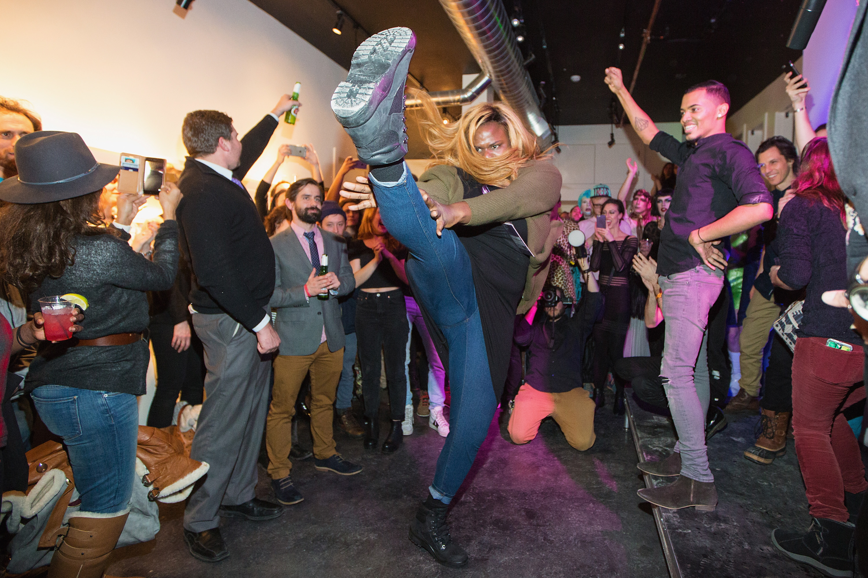 "PARK CITY, UT - JANUARY 26:  Gia Marie Love dances during a celebration of the film ""Kiki"" during the Sundance Film Festival at Kickstarter Green Room on January 26, 2016 in Park City, Utah."