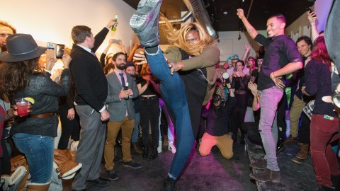 "PARK CITY, UT - JANUARY 26:  Gia Marie Love dances during a celebration of the film ""Kiki"" during the Sundance Film Festival at Kickstarter Green Room on January 26, 2016 in Park City, Utah."