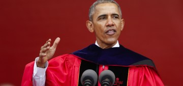 NEW BRUNSWICK, NJ - MAY 15: U.S. President Barack Obama speaks to students and attenders after receiving an honorary doctorate of laws during the 250th anniversary commencement ceremony at Rutgers University on May 15, 2016 in New Brunswick, New Jersey. Obama is the first sitting president to speak at the school's commencement.