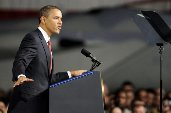 President Barack Obama gives a speech to a crowd of military personnel and civilians at Elmendorf Air Force Base, Alaska, Nov. 12, 2009. (U.S. Army photo by David Bedard/Released)