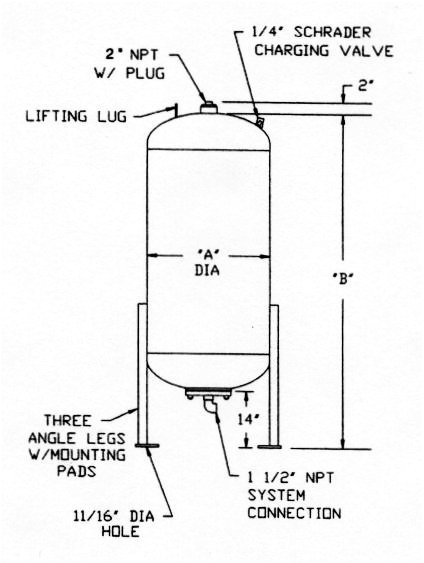 Diaphragm Pressure Tank with Bottom Connection Type for Potable