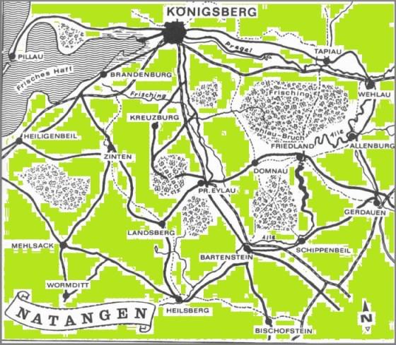 'Landschaft Natangen', die 'im großen und ganzen die Kreise Heiligenbeil, Pr. Eylau und Bartenstein sowie die südlich des Pregels gelegenen Teile der Kreise Königsberg und Wehlau, also das Gebiet nördlich des Ermlands zwischen dem Frischen Haff, der Alle und dem Pregel' umfasst.