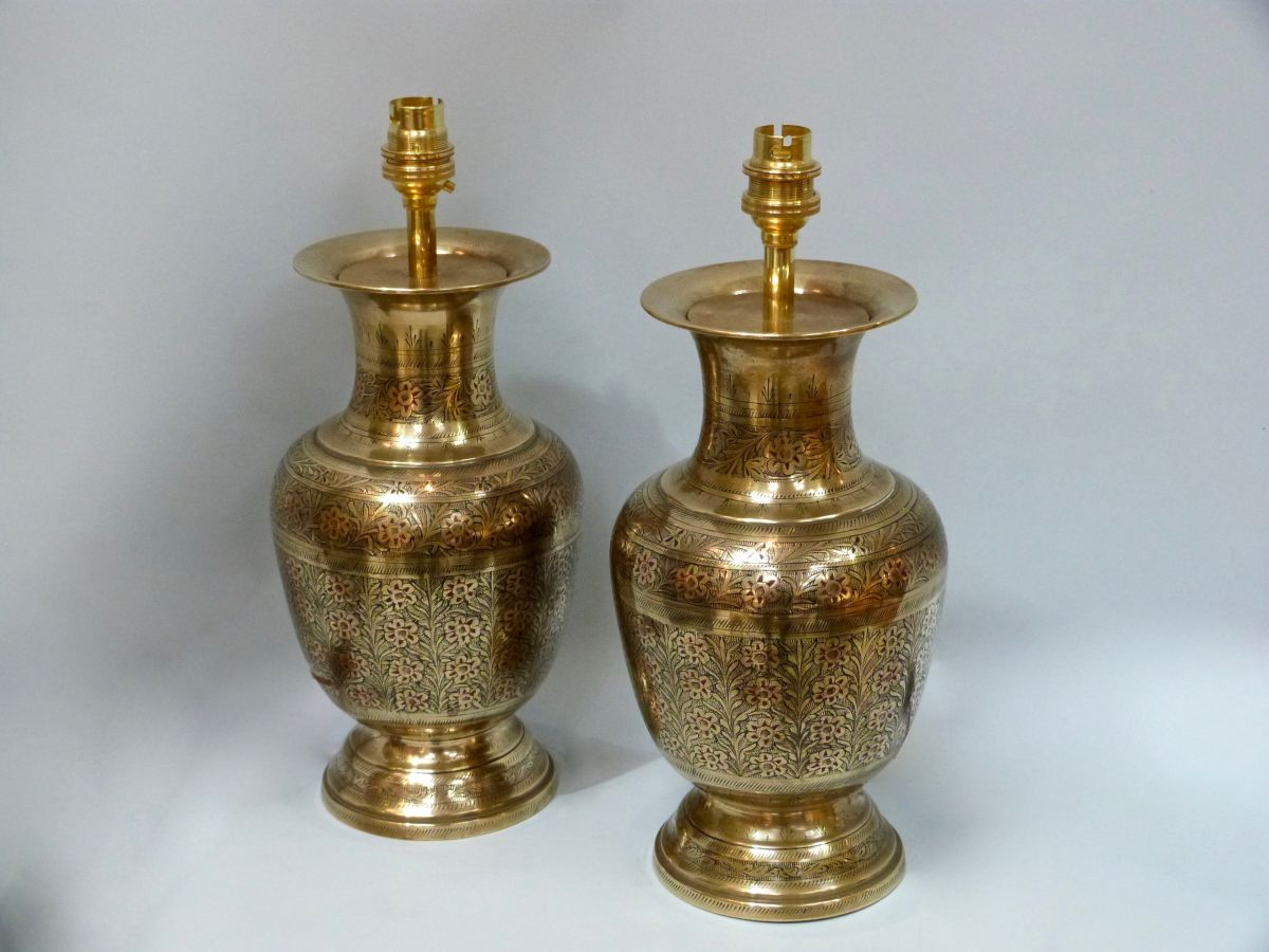 Pot Table Lamps A Pair Of Round Brass Pot Table Lamps Stock Blanchard
