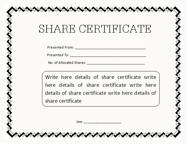 Share Certificate Template DOC Blank Certificates - certificate template doc