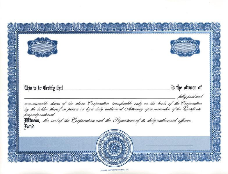 Share Certificate Template DOC Blank Certificates