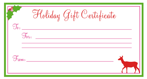 Uses for Gift Certificate Templates Blank Certificates - christmas gift certificate template free