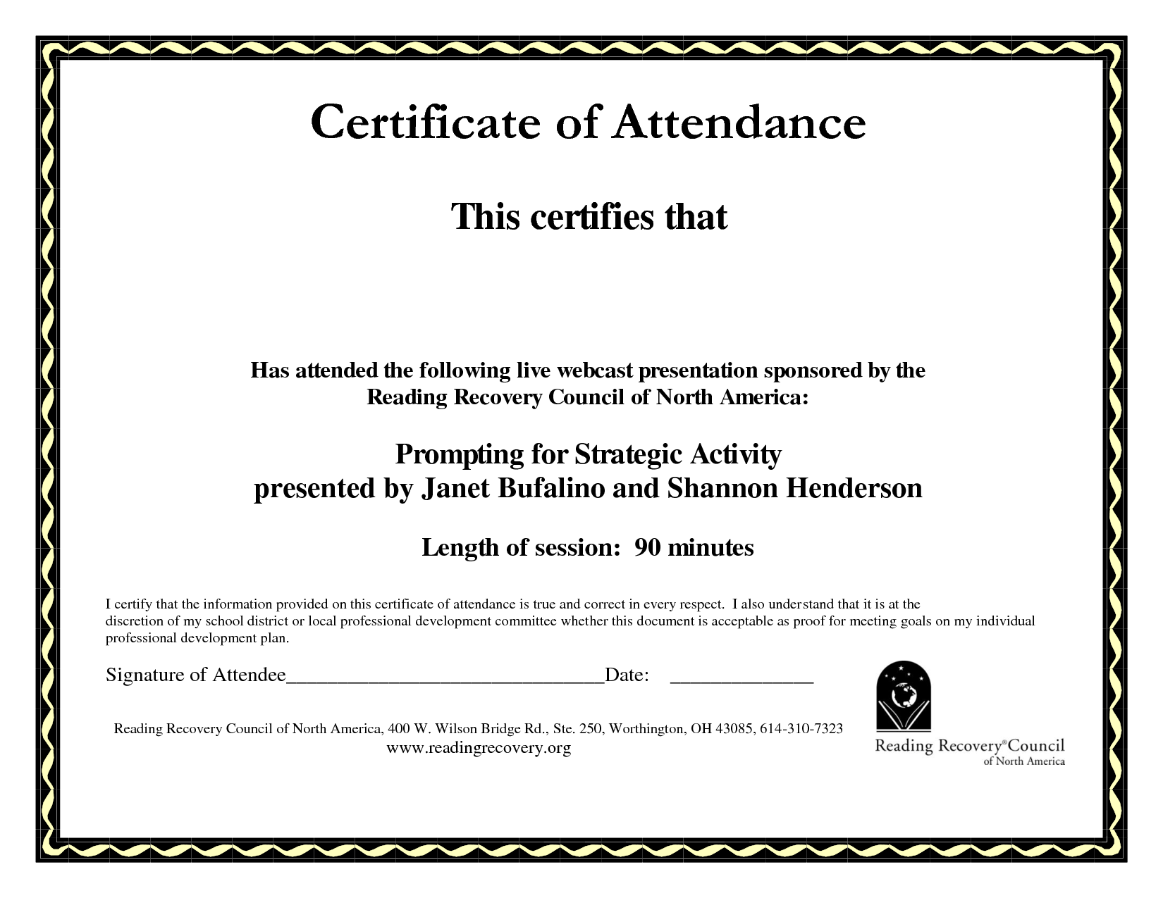 gift certificate template for word attendance certificate – Blank Certificate Templates for Word