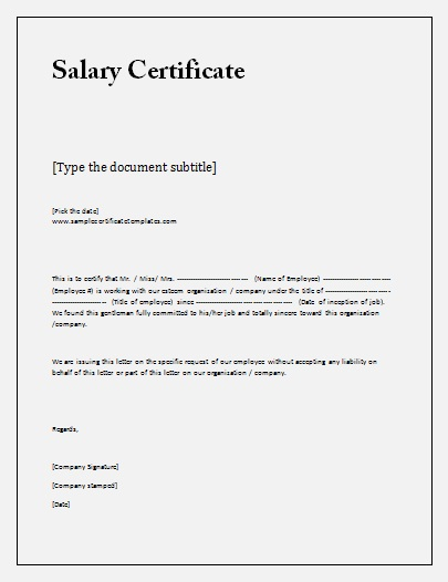 Certificate for salary Template DOC Blank Certificates - certificate template doc