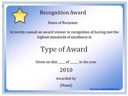 2 Free Certificates Blank Certificates - awards template word