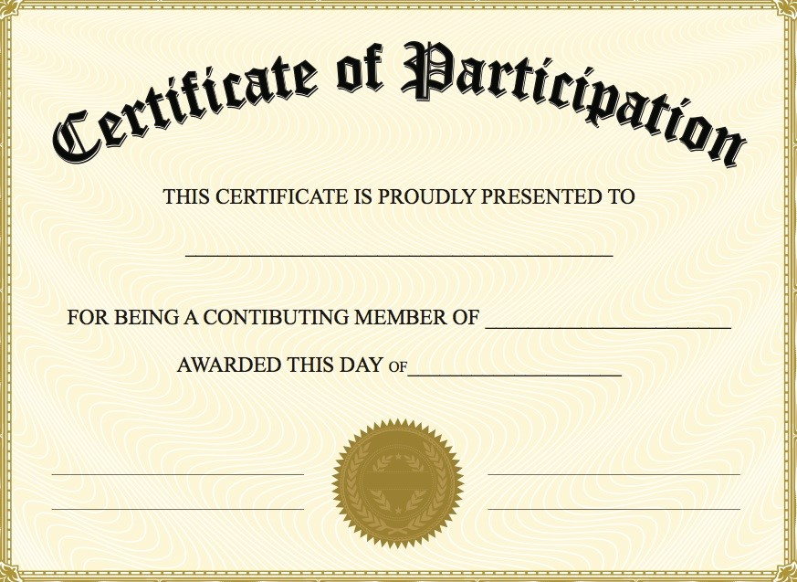 Certificate of Participation Templates Blank Certificates - Free Printable Perfect Attendance Certificate