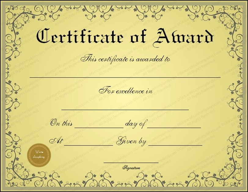 Golden Formal Award Certificate Template
