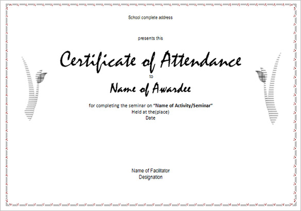 Attendance-Certificates-Printable - printable certificate of attendance