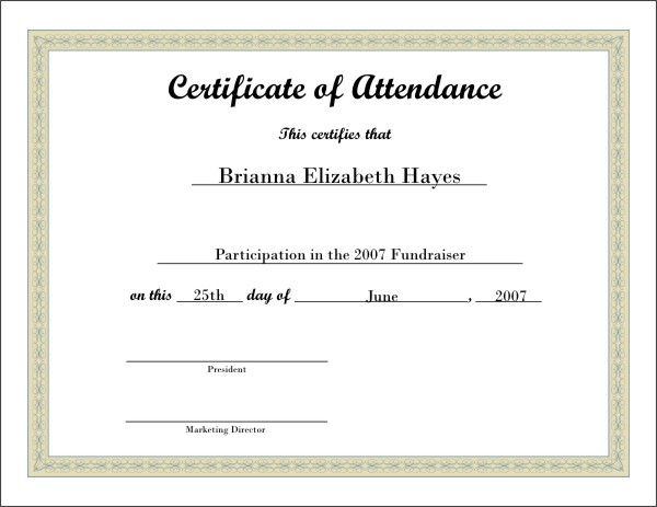 Attendance certificates printable node2003 cvresumeasprovider printable attendance certificates blank certificates attendance certificates printable yelopaper Image collections