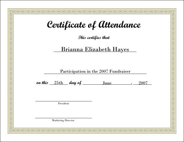 attendance certificate template free - Selol-ink