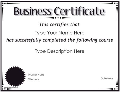 blank-printable-WORD-Business Certificate \u2013 Award for Completion