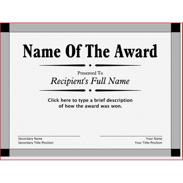 Free Printable Award Certificates-word-doc-Printable - award templates free word