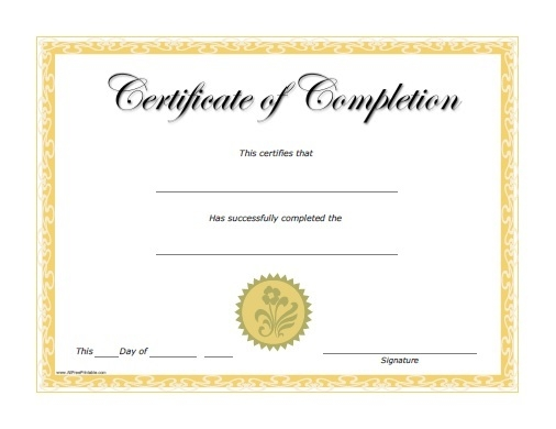 Free Training Completion Certificate Templates Certificates Of