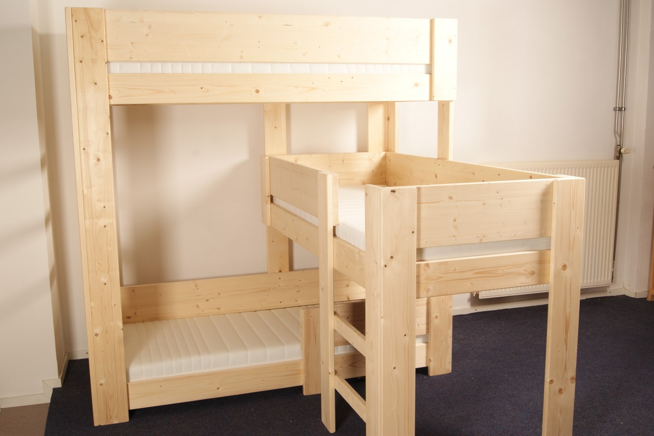 Stapelbed 4 Personen 3-persoons Bedden - 3-persoonsbed Stapelbed Silvie