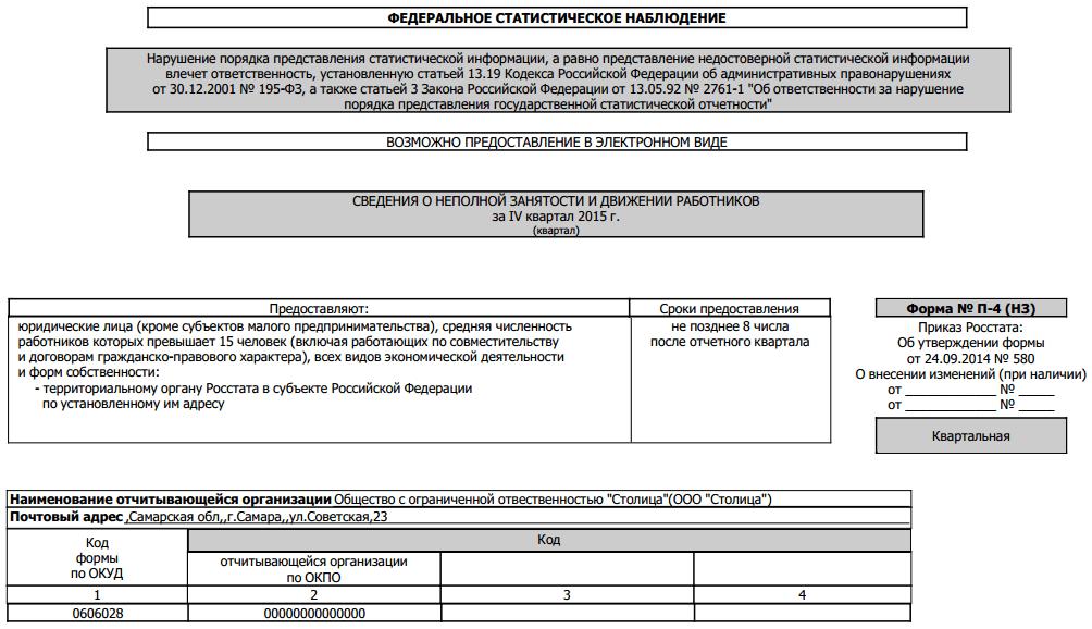 Инструкция по заполнению отчёта п-4 нз