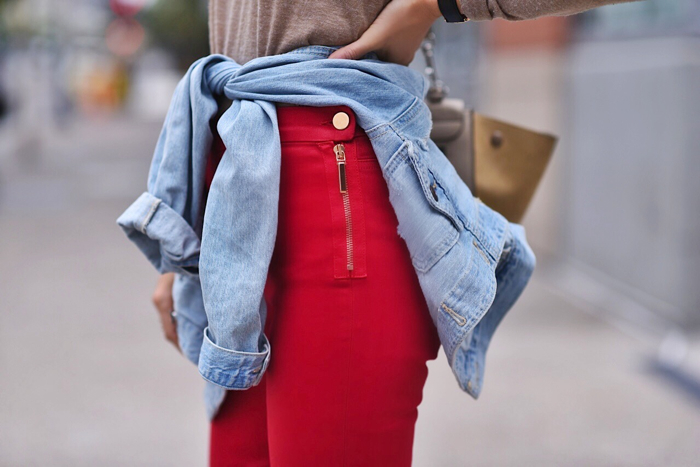 Paola Alberdi wearing 7 for all mankind x Giambattista Valli skinny jeans in flame