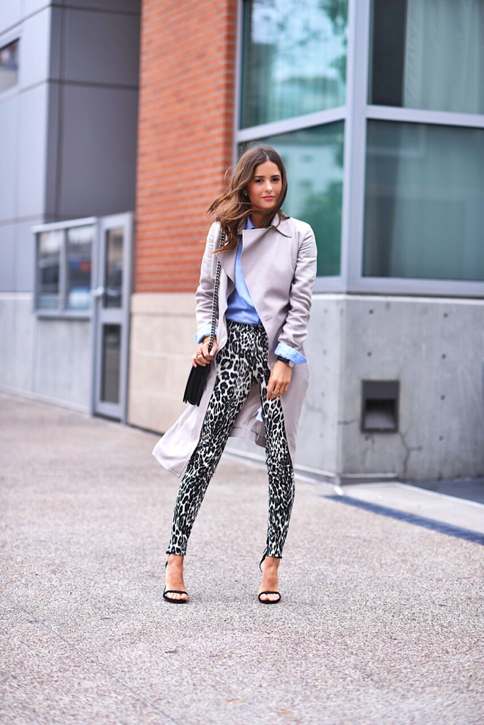 Blank Itinerary wearing 7 for all mankind x Paola Alberdi wearing 7 for all mankind x Giambattista Valli skinny jeans in leopard and reiss trench coat
