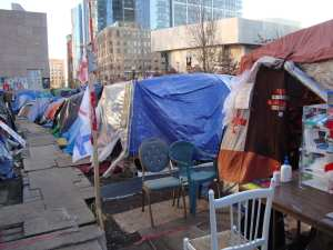 The tent city established in Dewey Square Park is now the oldest Occupy encampment still standing.  The Occupy Wall Street encampment at Zuccotti Park was leveled by NYPD on November 15. (Blast Staff photo/John Stephen Dwyer)