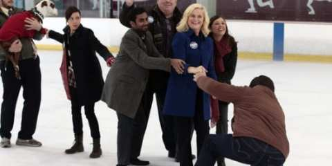 The gang shuffling their candidate across the ice not-so gracefully.