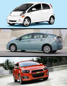Increased environmental awareness, high gas prices and a continually slumping economy have combined to make fuel efficient cars are all the rage today. Pictured from top to bottom: the Electric Mitsubishi Miev, Toyota's Plug-in Hybrid Prius; General Motors' gas sipping Chevy Sonic.