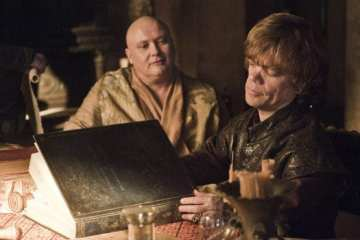Varys (Conleth Hill) and Tyrion (Peter Dinklage) plan for the impending siege of King's Landing.