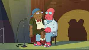 "Zoidberg and ""Little Hermes"" performing their comedy routine"