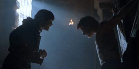 Iwan Rheon's character plays mind games with Theon (Alfie Allen)