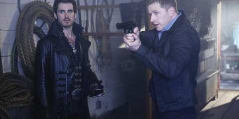 Captain Hook (Colin O'Donoghue) and Charming (Josh Dallas) try to steal back the magic beans.
