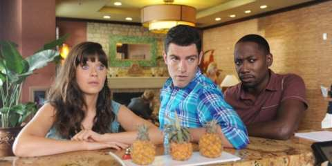 Jess (Zooey Deschanel), Schmidt (Max Greenfield) and Winston (Lamorne Morris) try to help Nick.