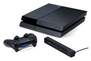 The smaller PlayStation 4 console with new DualShock controller and camera