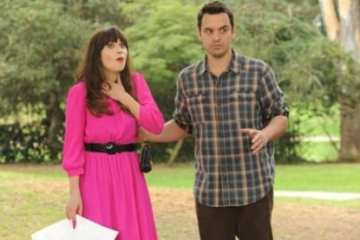 Nick (Jake Johnson) tries to surprise Jess (Zooey Deschanel) for her birthday.