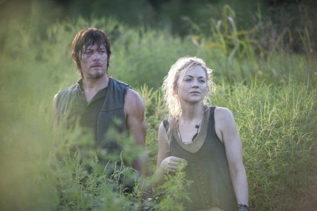 "Daryl (Norman Reedus) and Beth (Emily Kinney) are the first prison survivors we catch up with in ""Inmates"""