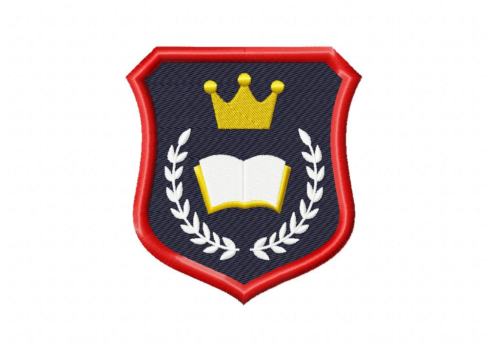 Wreath Prep School Badge Machine Embroidery Design \u2013 Blasto Stitch