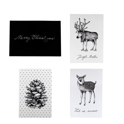 Christmas cards white black set 4 - christmas cards black and white