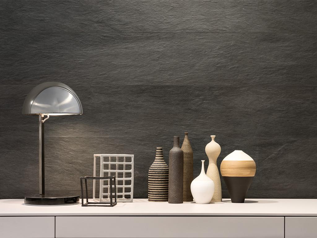 Ceramica effetto pietra bagno bagno grigio e bianco effetto