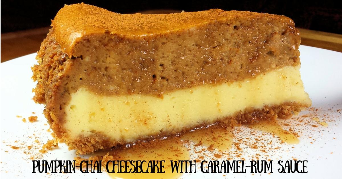 Pumpkin-Chai Cheesecake with Caramel-Rum Sauce (1)