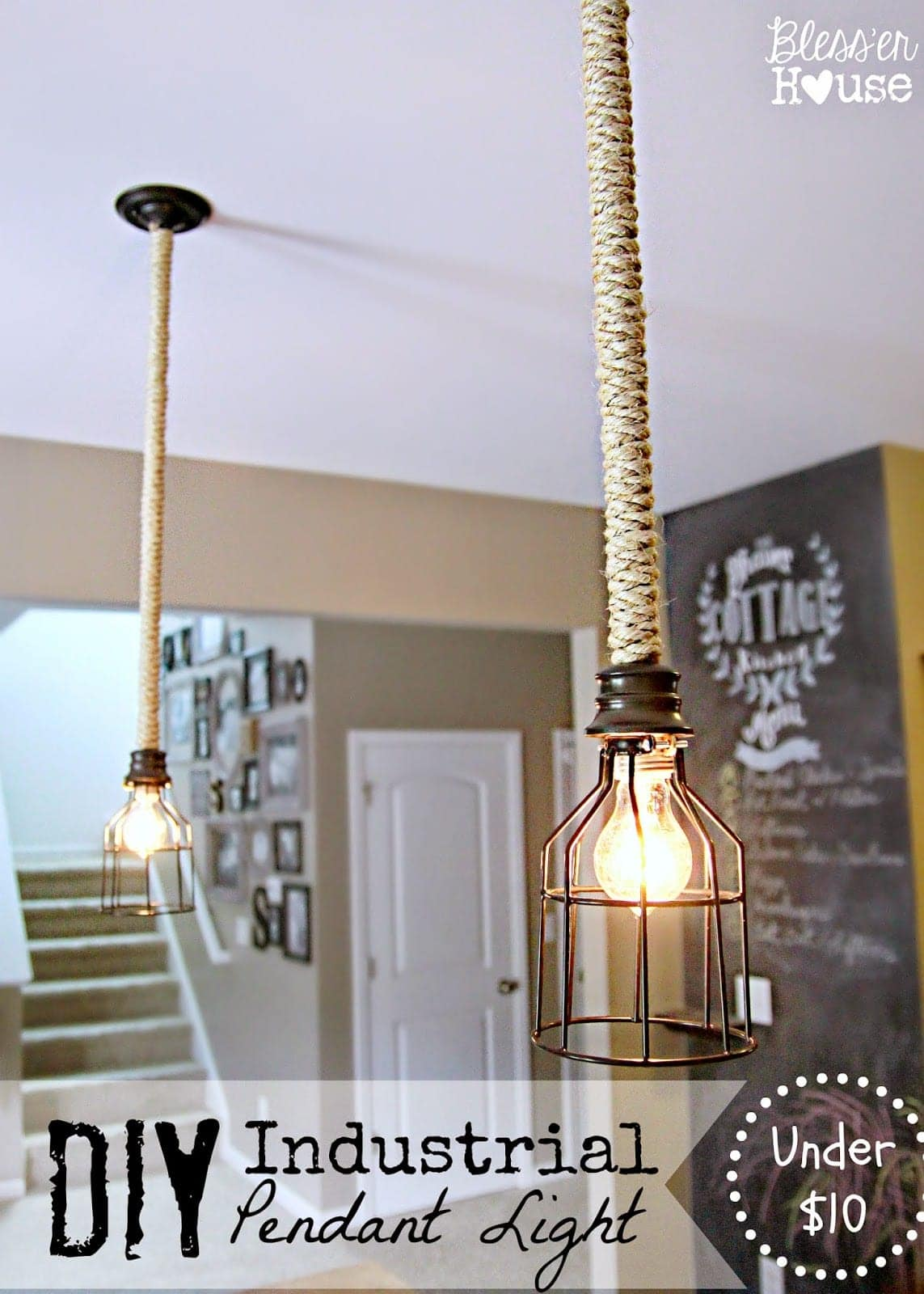 Industrial Style Light Fixtures Home Diy Industrial Pendant Light For Under 10 Bless 39er House