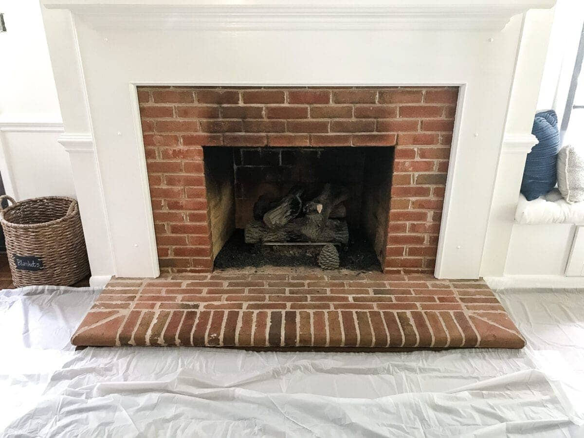 Update Old Brick Fireplace Diy Lime Washed Brick Fireplace Bless Er House