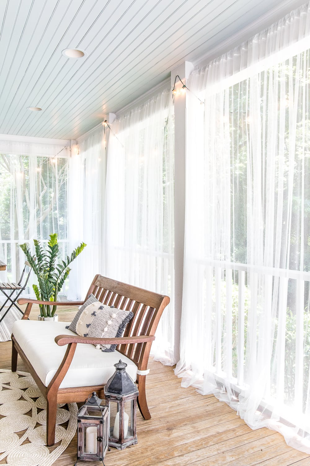 Outdoor Curtain Fabric By The Yard Diy Outdoor Curtains And Screened Porch For Under 100 Bless Er