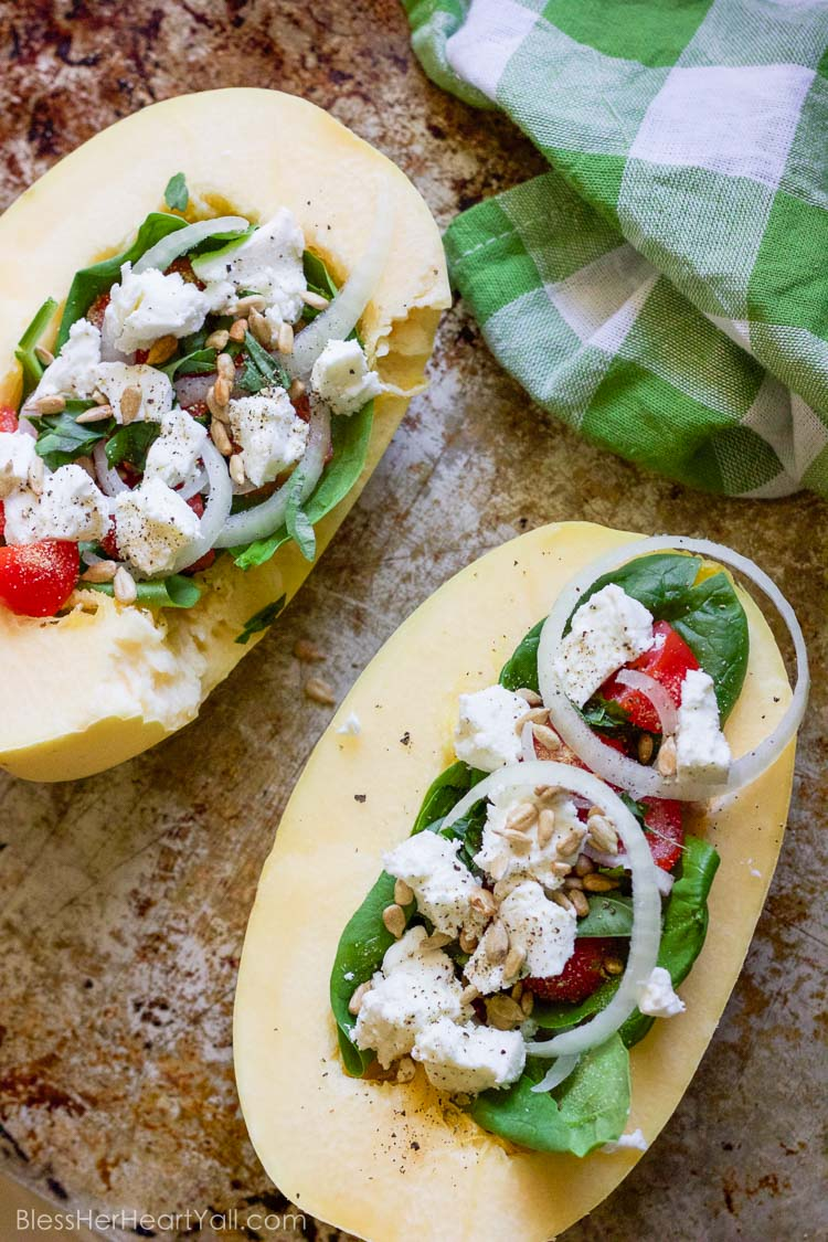 This basil goat cheese spaghetti squash combines creamy goat cheese ...