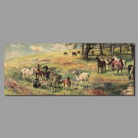 Retro Chinese Paintings Steeds Horse Decoration Canvas ...